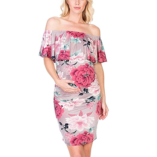 08f2e8e1bc013 Women's Floral Print Off Shoulder Ruffle Maternity Dress Bodycon Dress  Pregnancy Clothes(S,Red