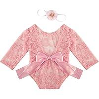 puseky Yeni doğan kız aksesuarı kıyafet dantel tulum alın bandı ile fotoğraf çekimi kostümü
