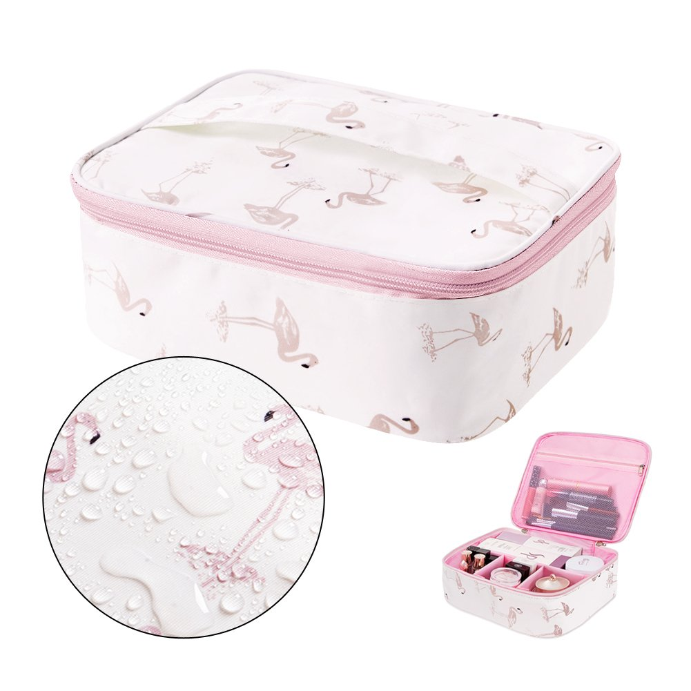 Portable Travel Makeup Bag - Waterproof Cosmetic Bags for Women with Adjustable Dividers(L-Pink)