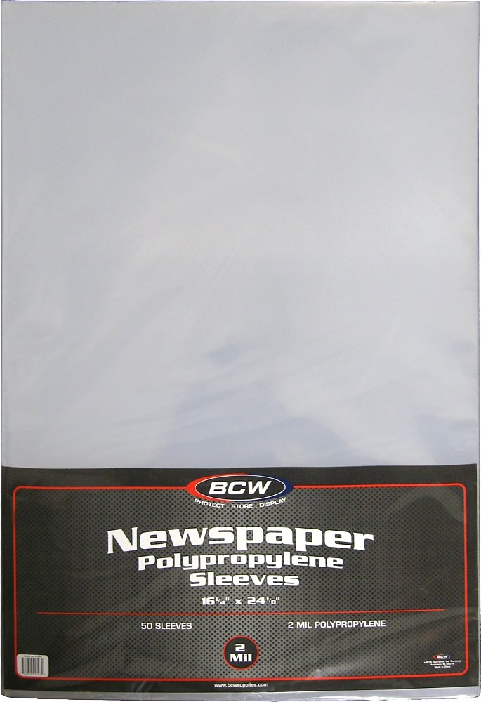 (50) Newspaper Sleeves - 16-1/4'' x 24-1/8'' - BCW Brand