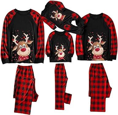 YIKEYO Pijamas Navidad Familia Conjunto Dos Piezas Reno Camisetas De Manga Larga y Pantalones de Cuadros para Mujer Hombre Niño Niña Bebe Pareja