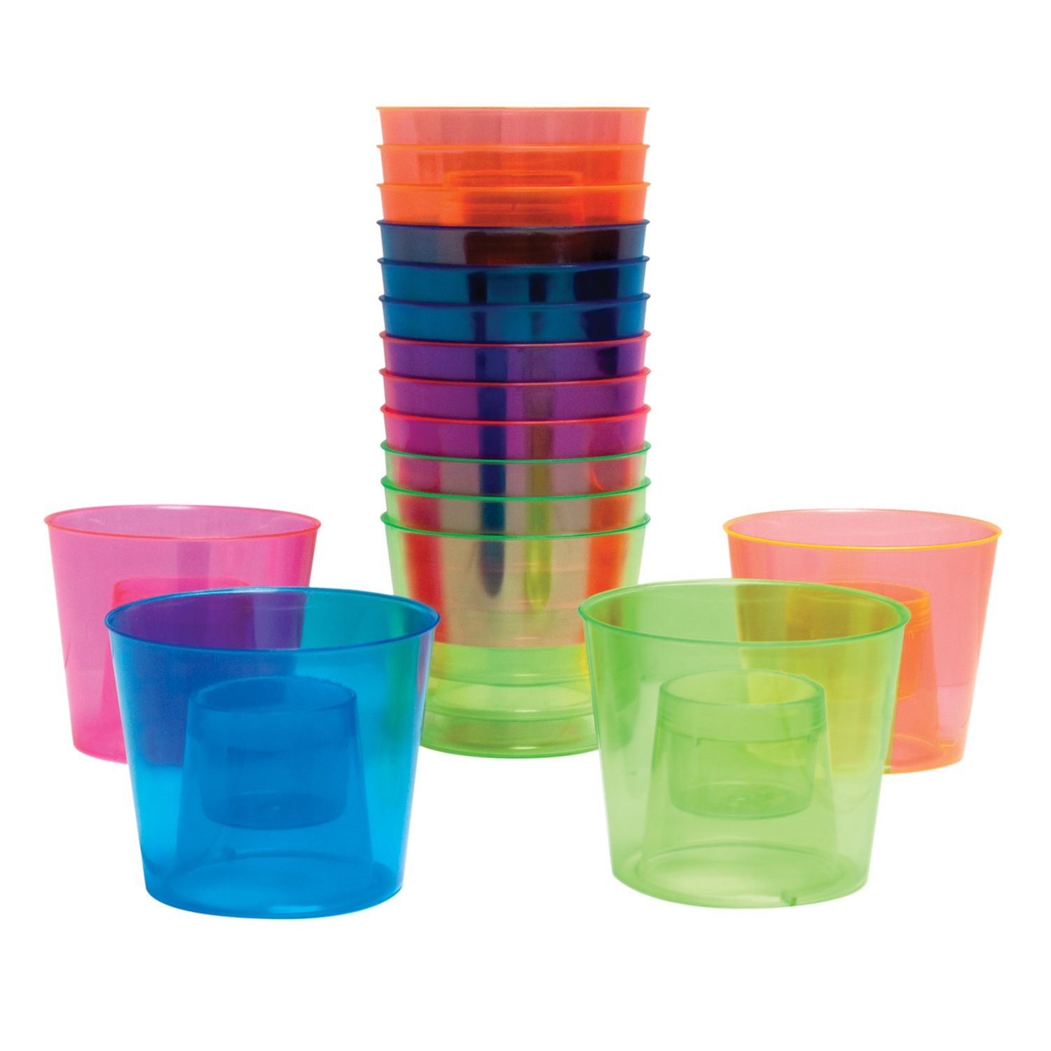 Party Essentials N490 Brights Plastic Bomber Cup, 4 oz. Capacity for Outer Cup, 1 oz. Capacity for Inner Cup, Assorted Neon Pink/Green/Blue/Orange (24 Packs of 12)