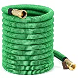 75 ft Expandable Garden Hose,Vita Guardian Double Layer Strong Flexible Garden Expanding Water Hose with Solid Brass Fittings for Garden Farm Washing Car or Watering Plants,Green