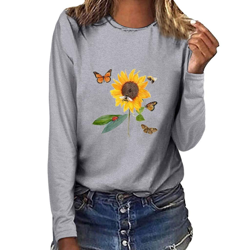 Sunflower Print Tops for Women,2019 Autumn Graphic Long Sleeve T Shirts Round Neck Loose Casual Pullovers Chaofanjiancai