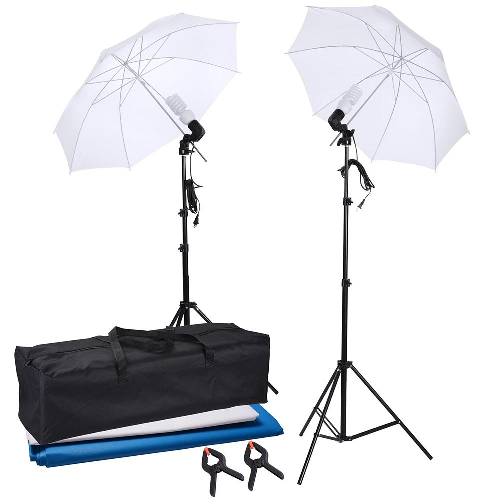 AW Portable Flat Clothing Photography Kit w/Backdrop 2X 45W Bulb 2X 33 Translucent White Umbrella Set