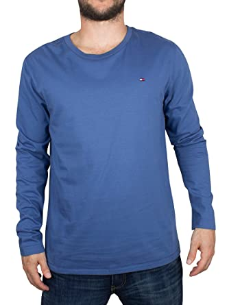 Tommy Hilfiger Hombre Longsleeved Logo camiseta ecológica, Azul, X ...