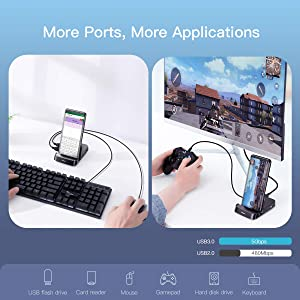 Samsung Docking Station, Baseus USB Type C HUB Docking Station for Samsung Galaxy S10/S9/S8/S10+/S9+ Note 9/8 Dex Station USB-C to HDMI Dock Power Adapter for Huawei P30 P20 Pro, Mate 10 and More (Color: Black)