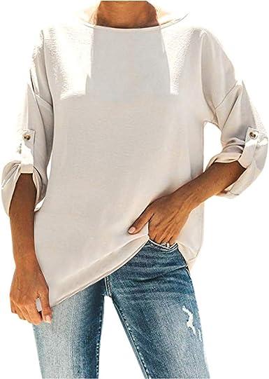 Camisa Larga Mujer Tops Deportivos Fiesta Sexy Moda Casual Blusa Suelta con Cuello En V Manga Tres Cuartos Estilo Callejero: Amazon.es: Ropa y accesorios