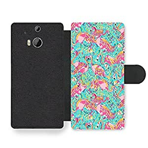 New Cool Flamingo Colourful Pattern Design Faux Leather case for HTC One M8 by ruishername