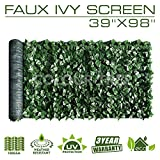 ColourTree 39''x98'' Artificial Hedges Faux Ivy Leaves Fence Privacy Screen Panels Decorative Trellis - Mesh Backing - 3 Years Full Warranty (39''x198'', 39'' x 98'', None