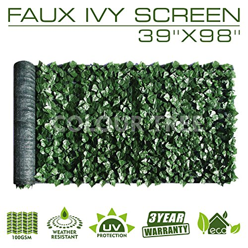 "Artificial Hedges Faux Ivy Leaves Fence Privacy Screen Panels  Decorative Trellis - 39"" x 98"""