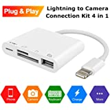 Weytech Lightning to USB Camera Adapter, 4 in 1 SD/TF Card Reader, Trail Game Camera Card Viewer Reader, Micro SD Card Reader USB 3.0 OTG Cable for iPhone X 8 7 6 Plus and iPad, Plug and Play