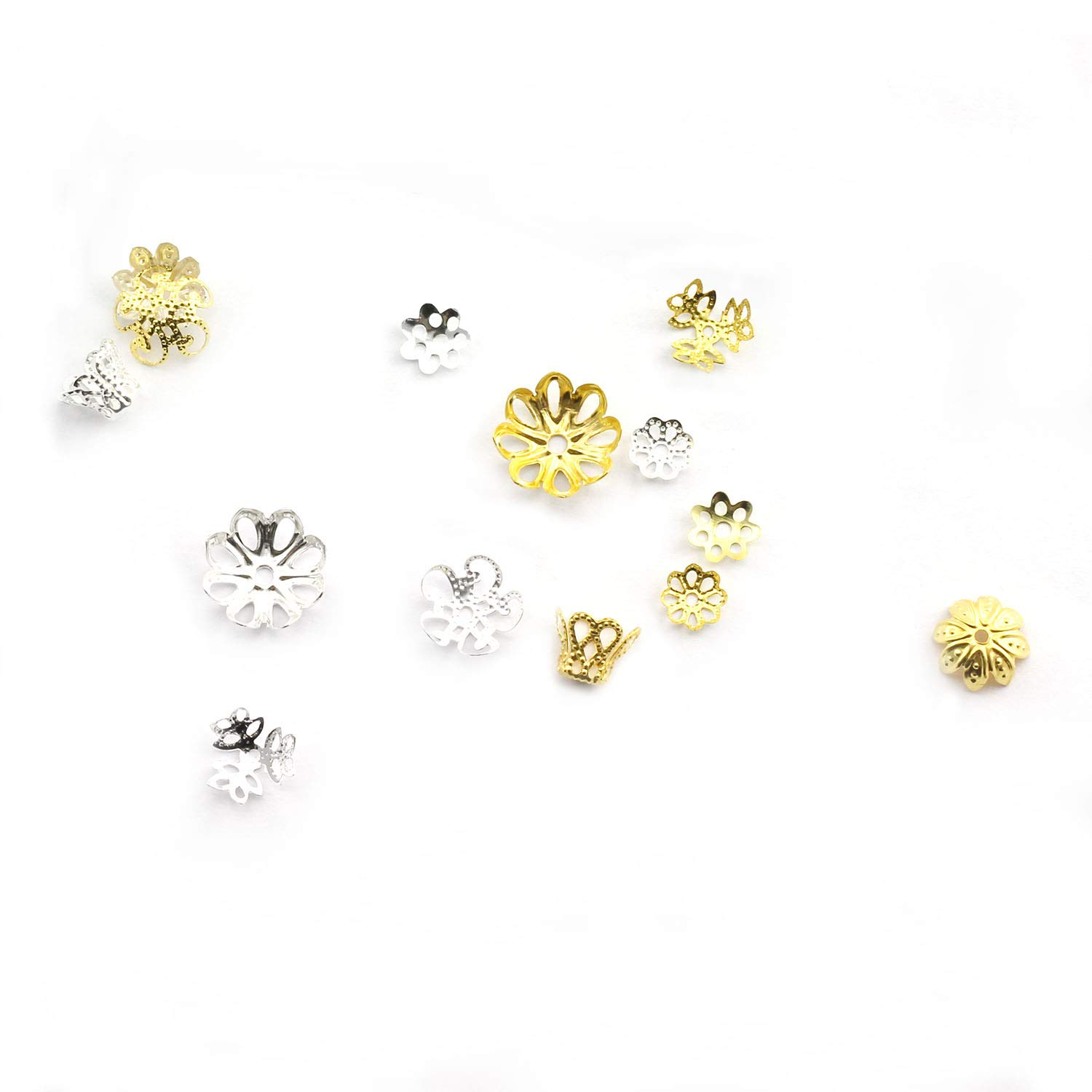 7 Kinds Hollow Flower Filigree Spacer Tassel Charms Accessories for Jewelry Making DIY Cord Caps NX Garden 350pcs Silver Jewelry Bead Caps Assorted Kit End Caps