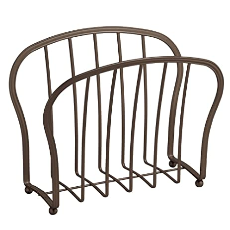InterDesign York Lyra Newspaper And Magazine Rack For Bathroom, Office, Den    Bronze