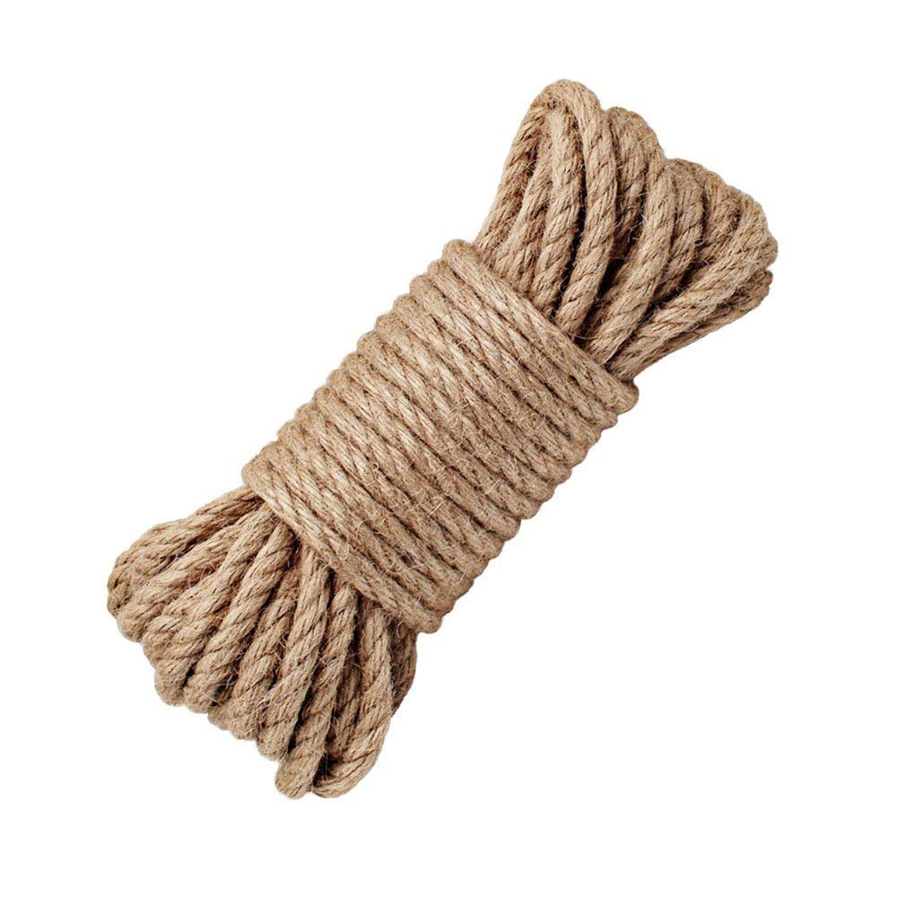 100% Natural Hemp Ropes - LUOOV® 6mm Thickness and Strong Jute Rope,Camping Rope,Multi Purpose Utility Sisal Rop,10m(32ft)-40m(128ft) (10m(32ft))