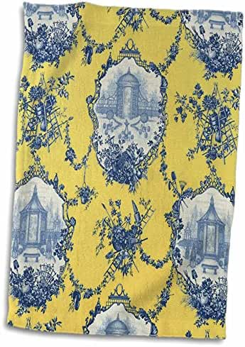3dRose RinaPiro - French Toile - Garden French Toile. Yellow and blue. Popular toile print. - 15x22 Hand Towel (twl_218087_1)