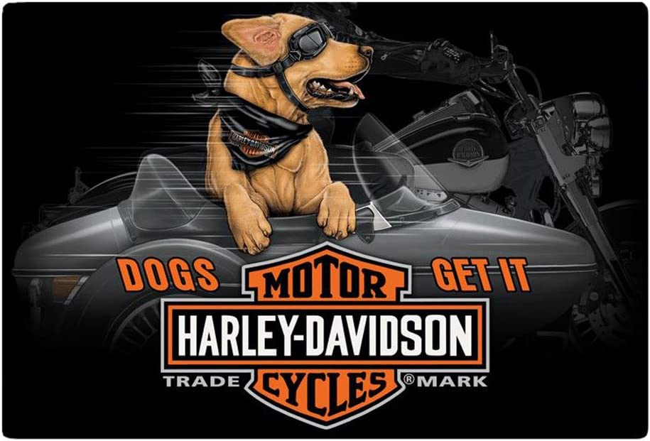 Harley-Davidson Dogs Get It Embossed Tin Sign, 17 x 11.5 inches 2011311