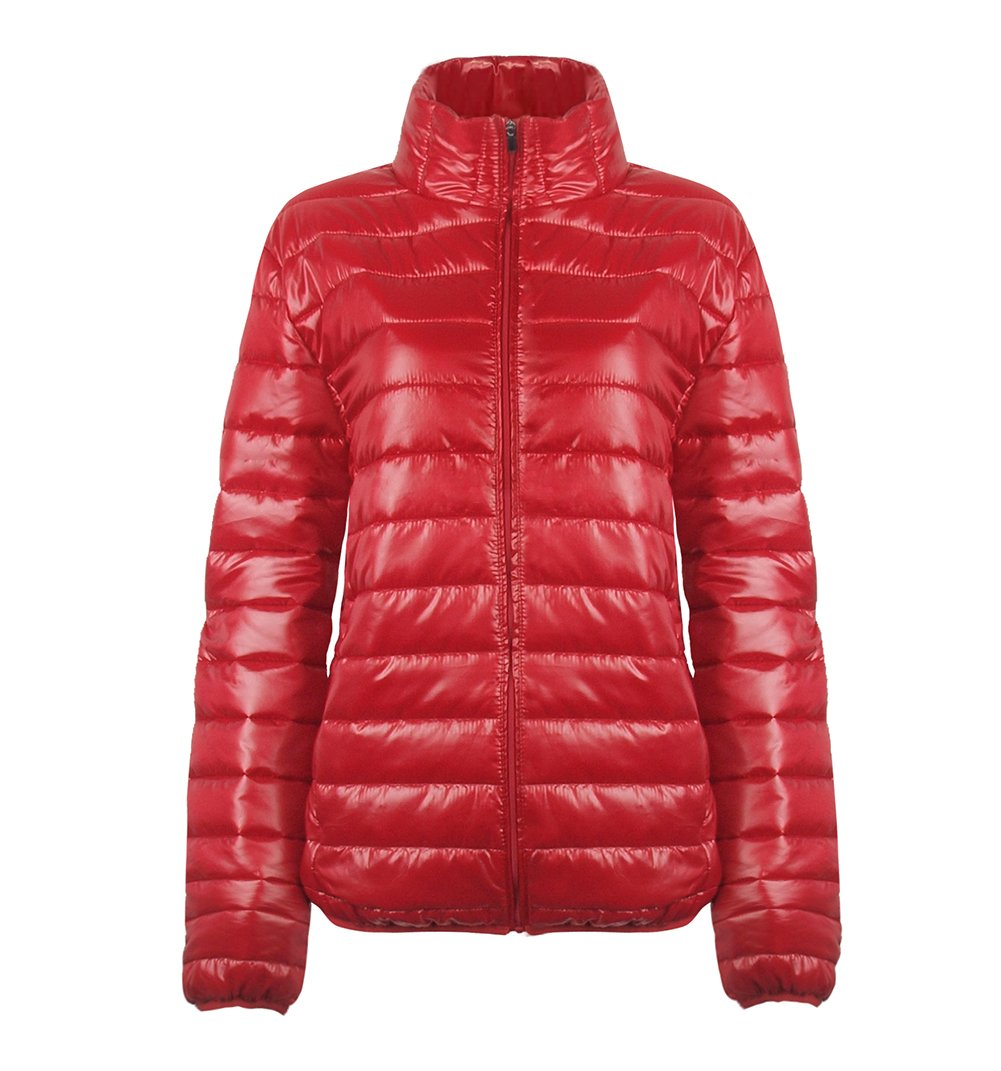SUNDAY ROSE Womens Packable Jacket Lightweight Puffer Quilted Coat Red - Size M by SUNDAY ROSE