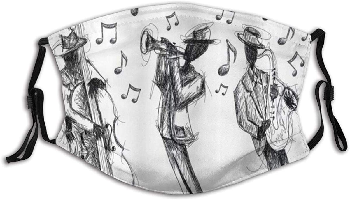 Face Cover Music Sketch Style of A Jazz Band Playing Music with Instruments and Musical Notes Breathable Washable Face Protection with 2 Filter for Men Women Cycling Camping Travel