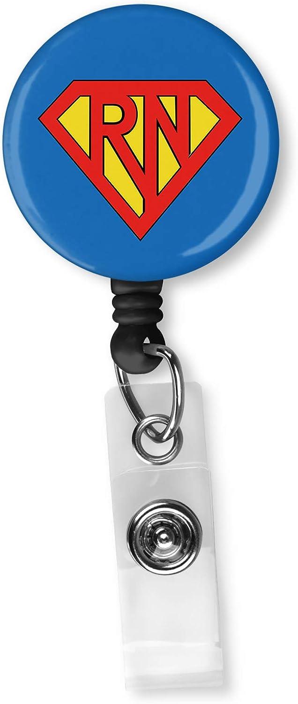 Super RN Nurse Retractable ID Card Badge Holder with Alligator Clip Name Nurse Decorative Badge Reel Clip on Card Holders