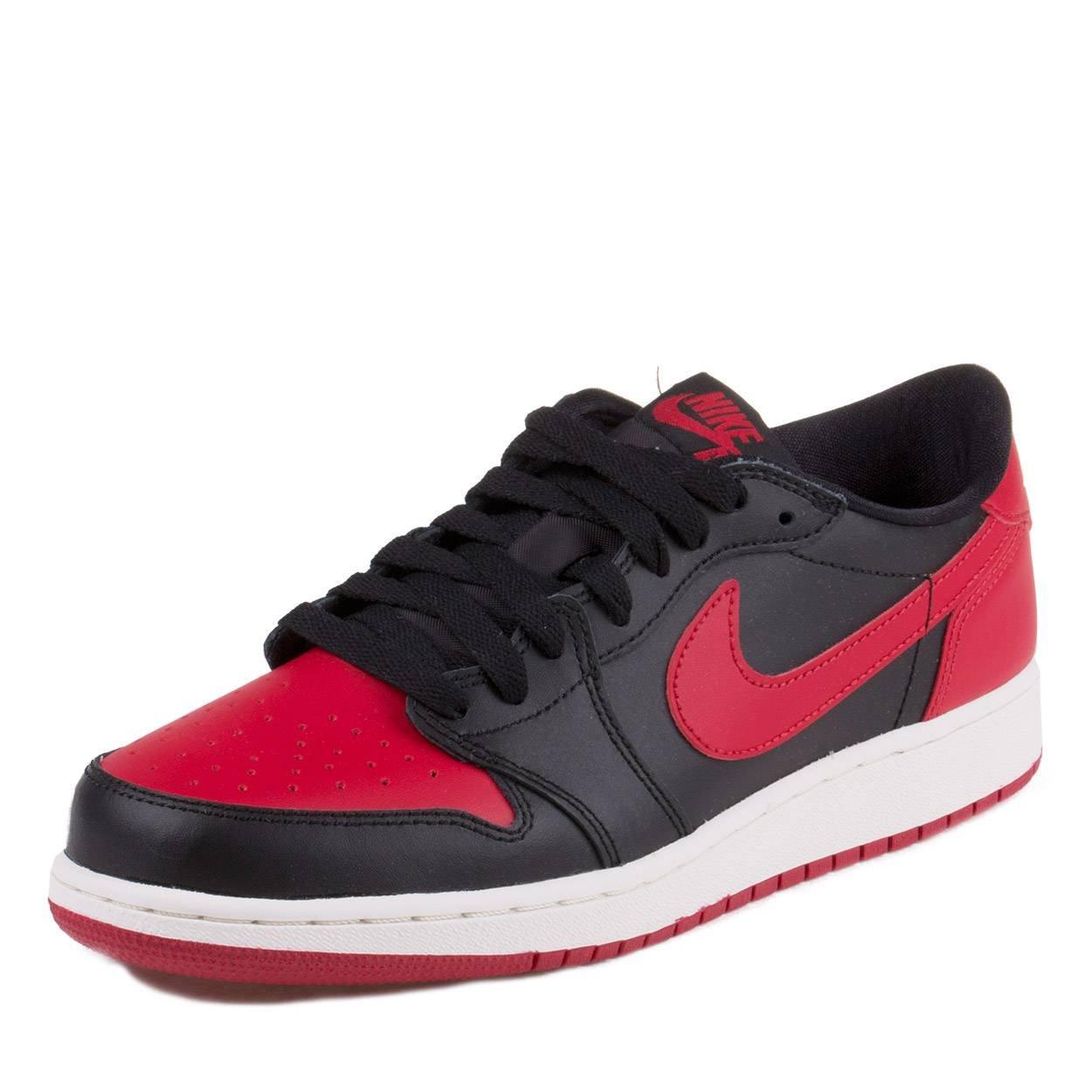 53a0c1bb2a9e9 Galleon - NIKE Mens Air Jordan 1 Retro Low BG Bred Black Varsity Red-Sail  Leather Size 7Y Basketball Shoes