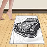 Chaneyhouse Cars Door Mats for home Hand Drawn Vintage Vehicle with Detailed Front Part Hood Lamps Rear View Mirror Bath Mat Bathroom Mat with Non Slip 30''x48'' Grey Blue Grey