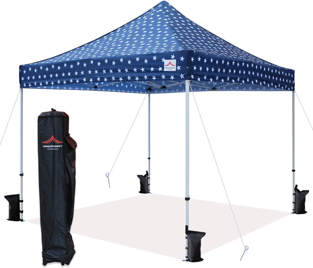 UNIQUECANOPY 10×10 Ez Pop Up Canopy Tent Commercial Instant Shelter with Heavy Duty Roller Bag, 4 Canopy Sand Bags, 10×10 FT Navy Blue Star