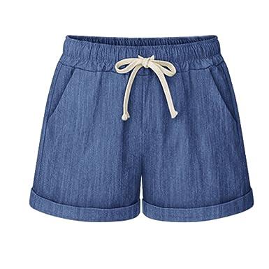 Damen Sommer Leinen Shorts Hotpants Gerade Kurze Hose Freizeitshorts