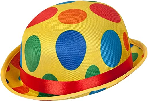 Clown Bowler Hat Comedy Adult Mens Smiffys Fancy Dress Costume Accessory