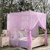 Royal- European Style Square Top Mosquito Net Three-door Encryption Thickening Home Double Bed Princess Style Stainless Steel Bracket Purple ( Size : 1.8m (6 feet) bed )