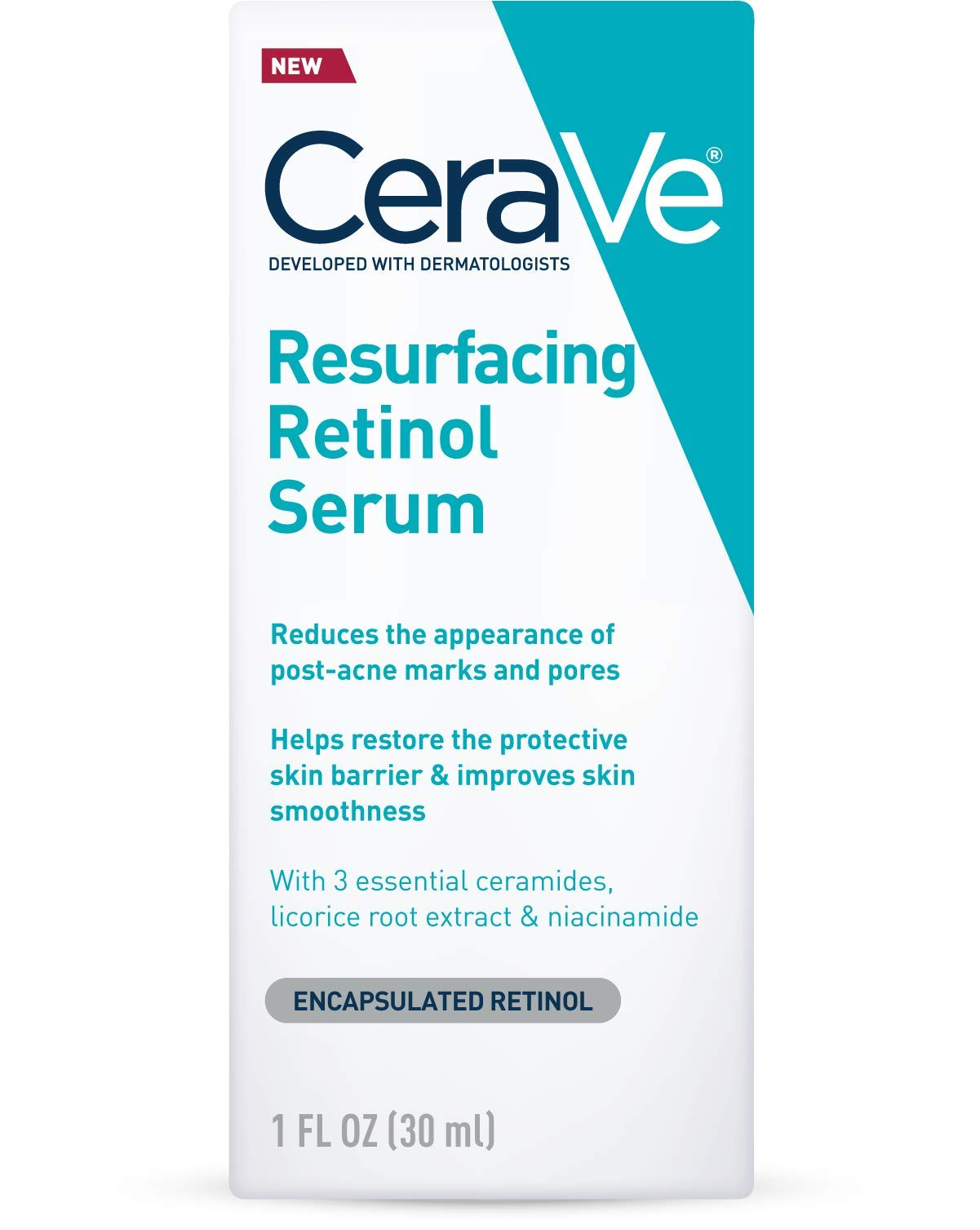 CeraVe Retinol Serum for Post-Acne Marks and Skin Texture | Pore Refining, Resurfacing, Brightening Facial Serum with Retinol | 1 Oz
