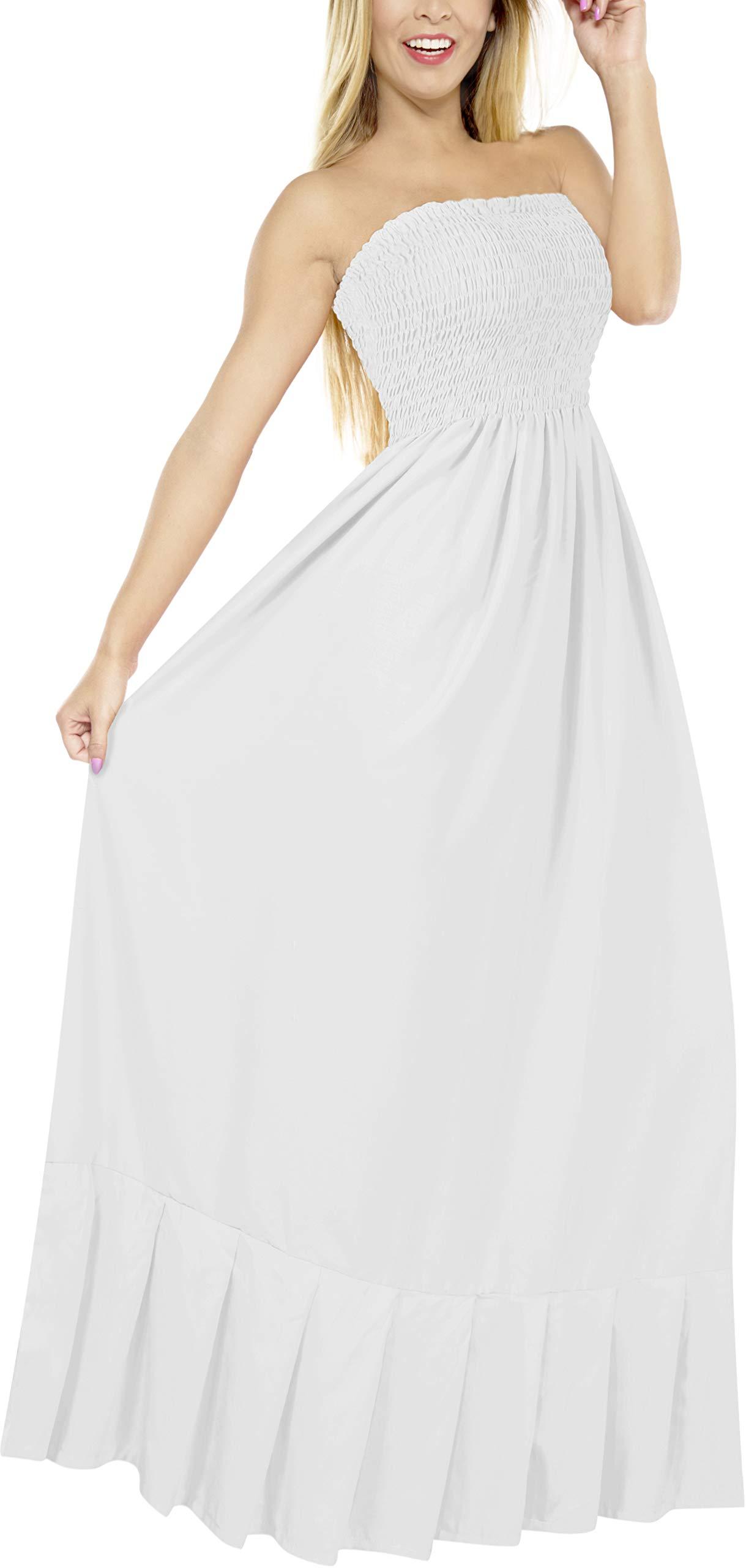 LA LEELA Womens Plus Size Summer Casual Tube Dress Beach Cover Up Hand Tie Dye