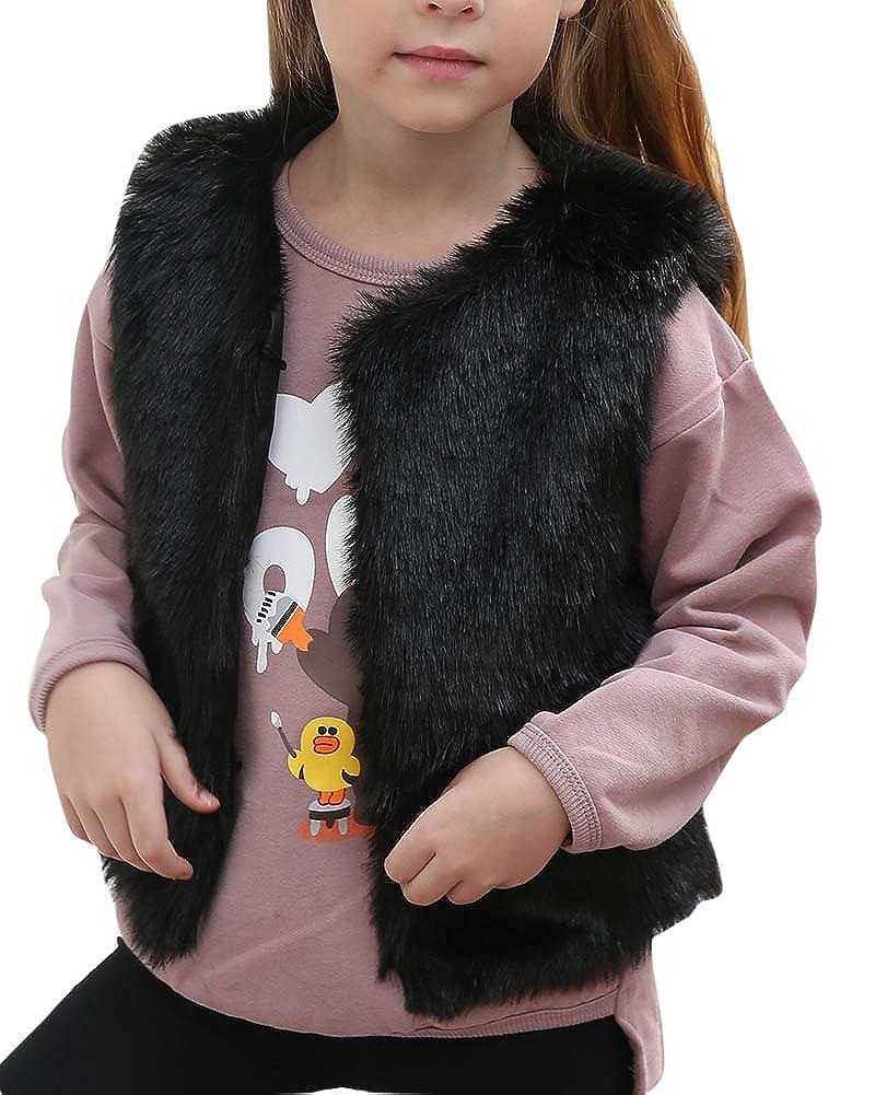 Kinder Mädchen Faux Pelz Weste Warmer Ärmellos Casual Tops Jacke Mantel Gilet(3-8Jahre)