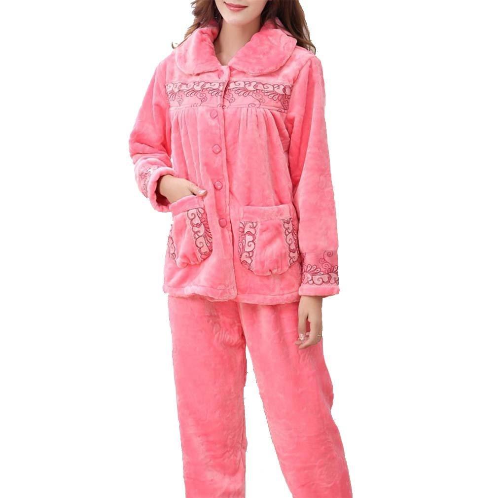 MOXIN La mujer pijama gruesa franela Coral Fleece otoño cálido invierno Pijama femenino Pijamas Mujer pijamas casuales para?Sandía Roja: Amazon.es: Ropa y ...