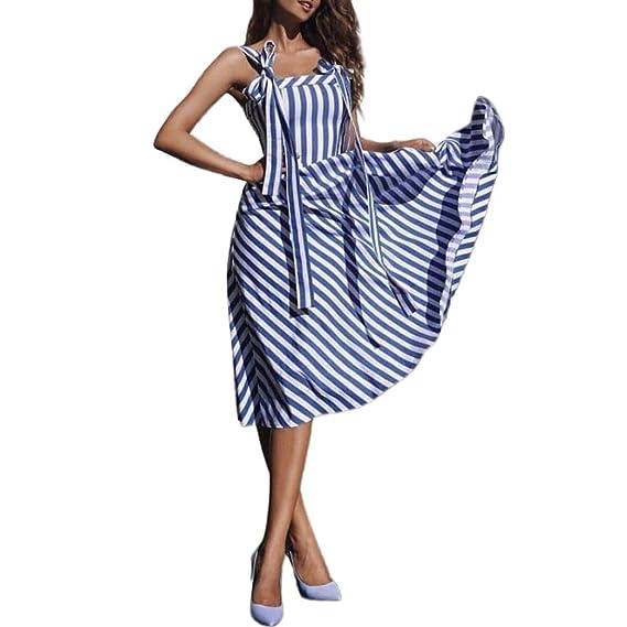 ZODOF Mujeres Verano Playa Botones Vestido de Fiesta Vestido Largo de Verano Vestido de Mujer de la Raya de la impresión de Moda Vestido Informal ...