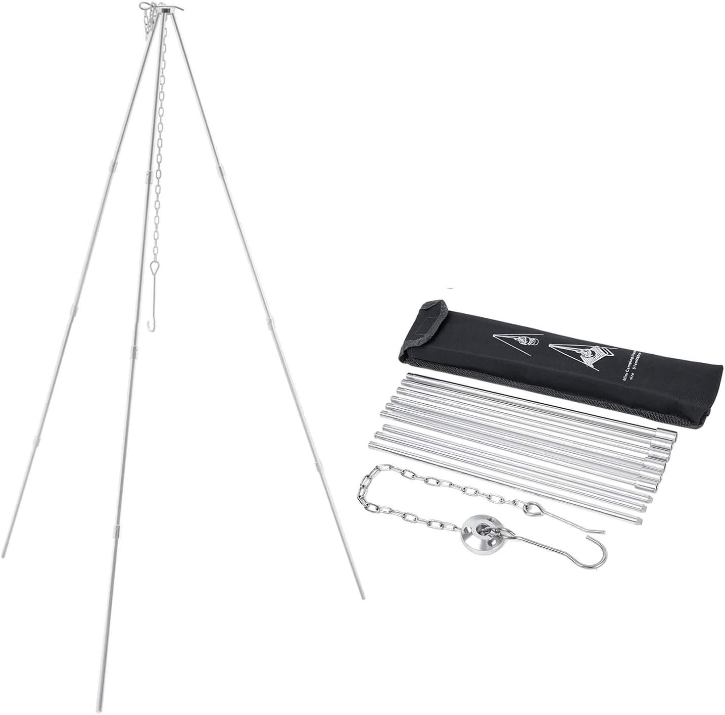 OutyFun Camping Tripod, Upgraded 4-Section Bracket PortableLightweight Al-Alloy Grill Stand with Adjustable Hang Chain for Hanging Pot and Campfire