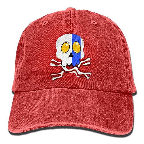 Bacon And Egg Costume Accessories (Eggs Bacon Skull Crossbones Unisex Adjustable Cotton Denim Hat Washed Retro Gym Hat FS&DMhcap Cap Hat)