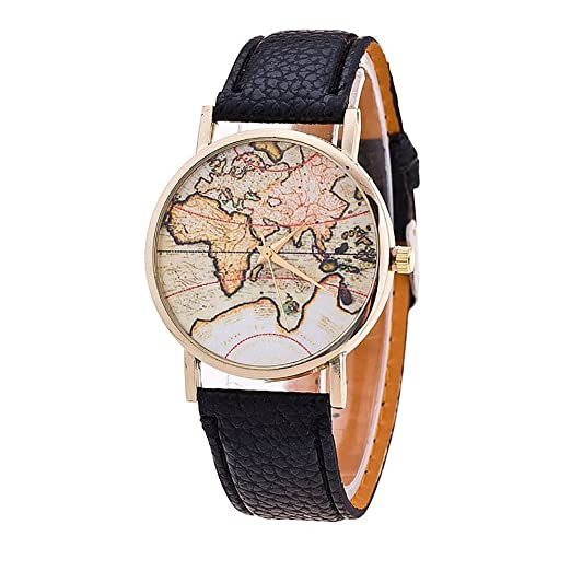 Womens Mens Unisex Map Watch,COOKI Unique Quartz Analog Fashion Clearance on Sale Casual Wrist