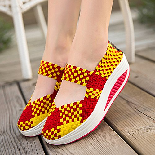 Femmes Enllerviid Tisser Mary Jane Toning Chaussures De Marche Shape Up Fitness Chaussures De Sport 809 Jaune / Rouge