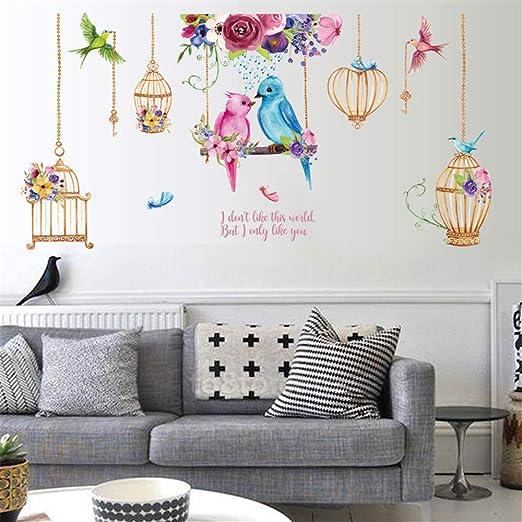 ufengke Wandtattoo Vogelkäfig Wandsticker Wandaufkleber Blume Vögel Für  Schlafzimmer Wohnzimmer