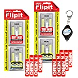 4 Pack Nebo Flipit 6523 Mount Anywhere Wireless Magnetic 215 Lumen LED Light with 3X Extra Nebo AAA Batteries and Bonus Lumintrail Keychain Light