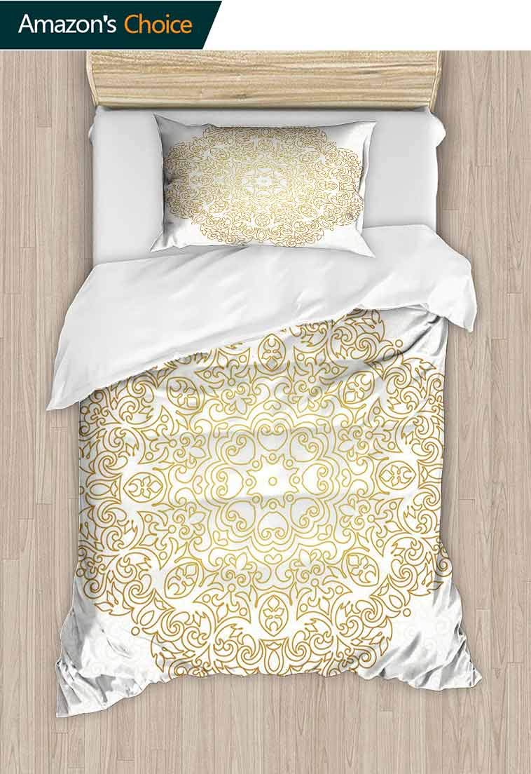 Printed Quilt Cover and Pillowcase Set, Traditional Outline Design on Swirled Backdrop Victorian Baroque Moroccan, 100% Microfiber Bedding Sets Queen with Zipper Closure, Lightweight and Ultra Soft