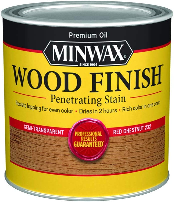 Minwax 223204444 Wood Finish Penetrating Interior Wood Stain, 1/2 pint, Red Chestnut