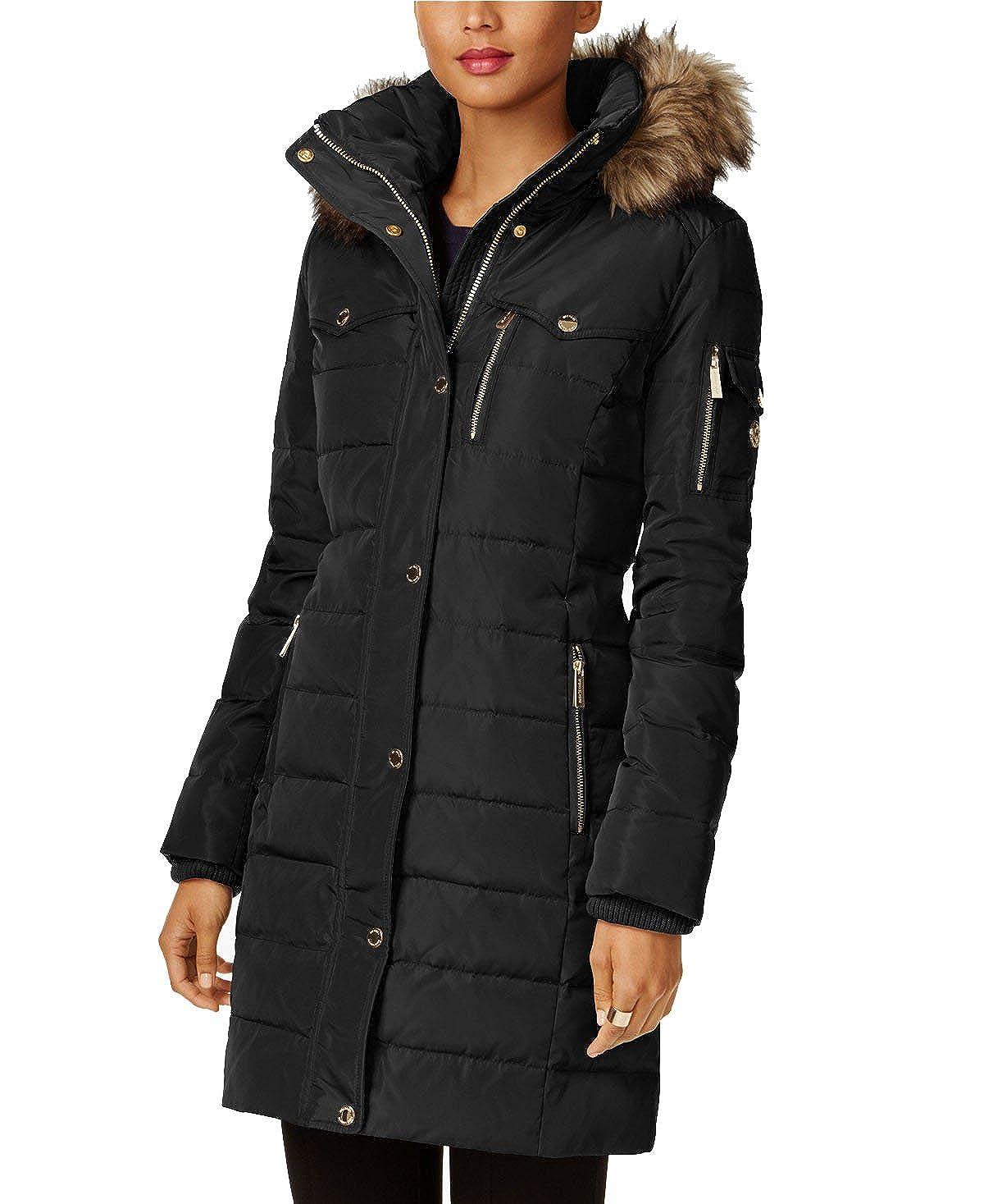ad4e03866938 Amazon.com  Michael Kors Faux Fur Trim Down Puffer Coat  Clothing