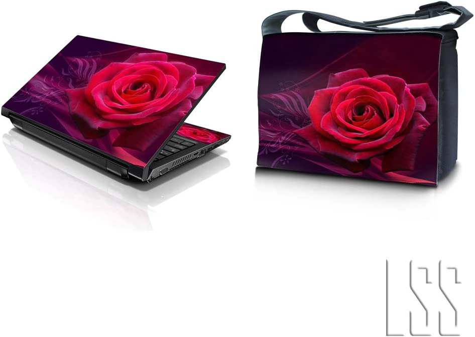 """LSS 15-15.6"""" Laptop & MacBook PRO Messenger Crossbody Bag with Matching Laptop Skin Sticker Combo 