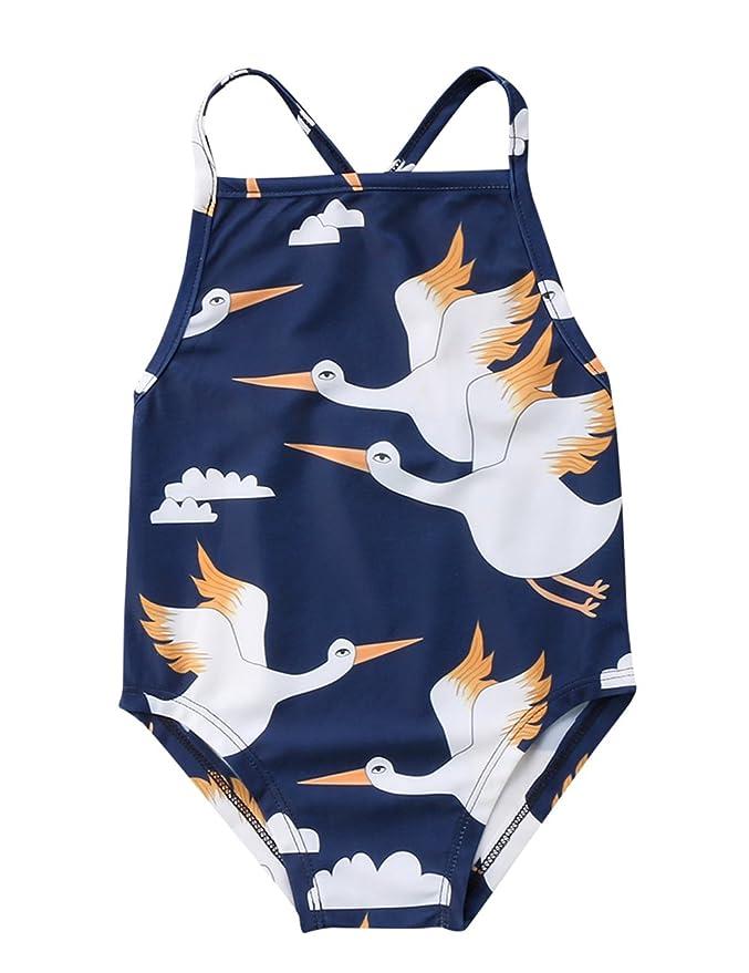 Summer Baby Girls Sling One-piece Quick-drying Swimwear Cute Swan Backless Swim Beach Bathing Kids Toddler Children Swimsuit Swimwear
