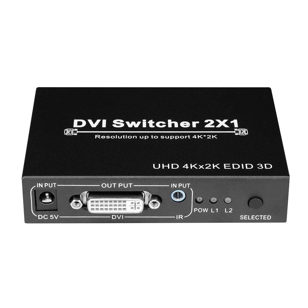 DVI Switcher 2x1 with IR Remote 2 inputs 1 Output DVI-D Switch Box 4K 1080P Full HD UHD 3D EDID DVI-I Monitor Switch Box for Computers/PCs/Macs/Monitor