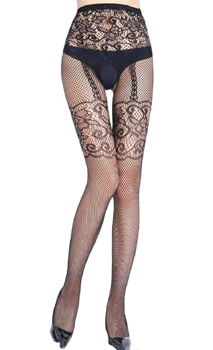 Xswsy XG-CA Womens Stretchy Stockings Thigh High Fishnet Lace Suspender Pantyhose