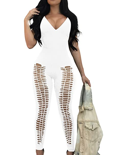 8c66053fe5b Wuxh Women s Sexy V Neck Hollow Out Backless Sleeveless Bodycon Long Jumpsuit  Rompers (Small
