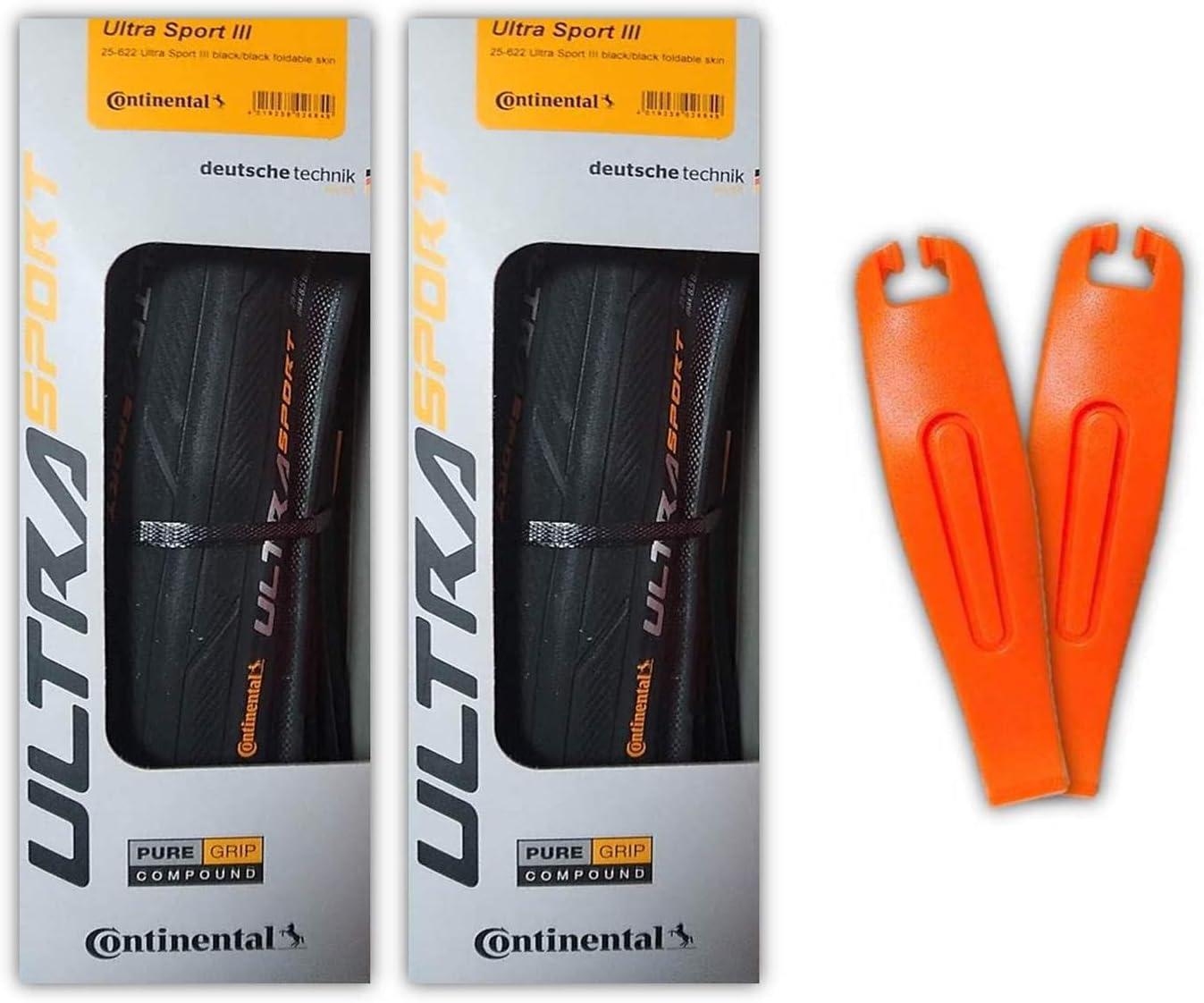 Continental Ultra Sport III 700x23 Black//Red Folding PureGrip Set of 2